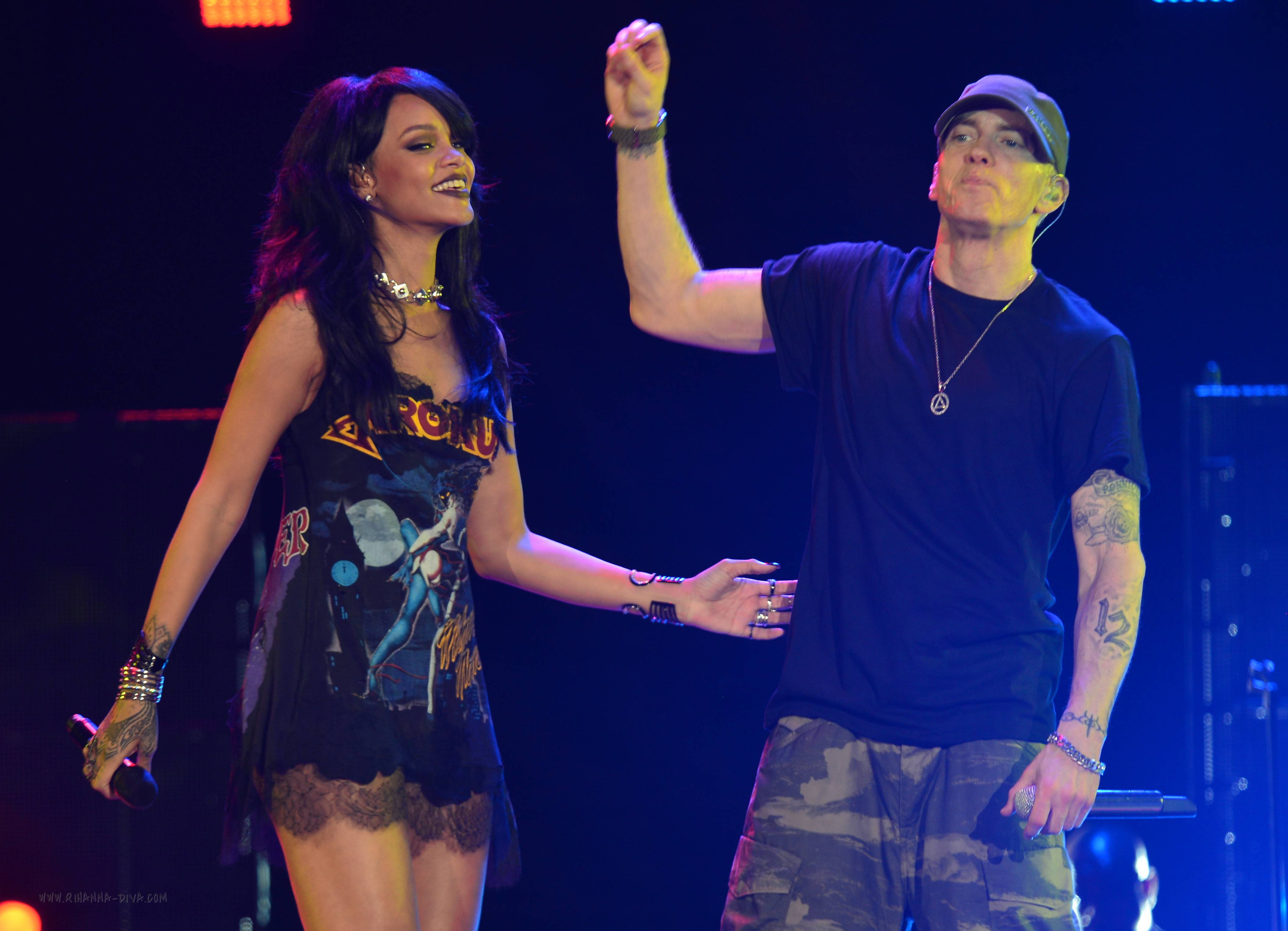 Eminem and Rihanna at The Monster Tour Rose Bowl August 7, 2014