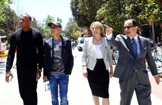 Dr. Dre, Jimmy Iovine, Prof. Erica Muhl and C. L. Max Nikias, the U.S.C. president, in Los Angeles