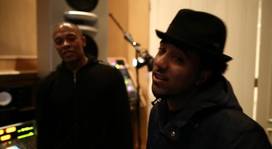 Dr. Dre and MC Promlem in Studio