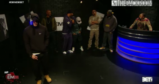 2013.11.06 - Eminem and Slaughterhouse - The Backroom Freestyle (Rap City BET 106 & Park)