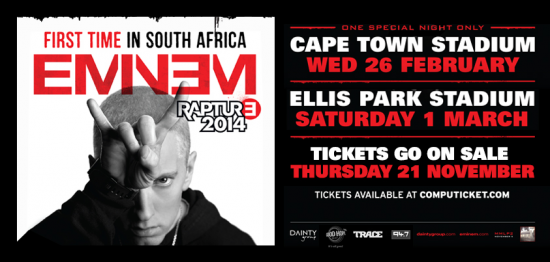 2013.11.19 - Eminem 2014 Rapture tour South Africa