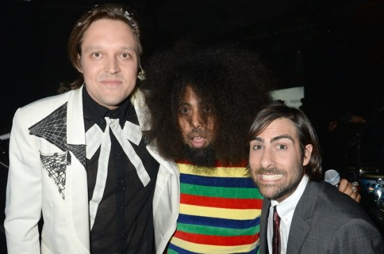 (L-R) Win Butler of Arcade Fire, Reggie Watts and Jason Schwartzman backstage at the 2013 YouTube Music Awards, November 3, 2013 in New York City
