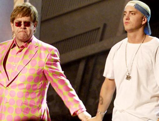 Eminem and Elton John at 2001 Grammy Awards