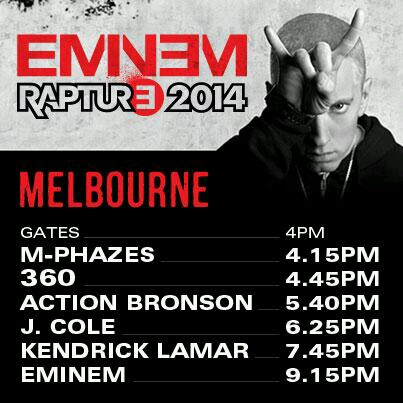 2014.02.19 - 01 Rapture 2014 Eminem Австралия Мельбурн