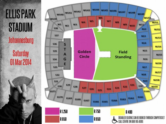 Eminem Rapture 2014 Johannesburg 01.03.2014 Схема Стадиона 02