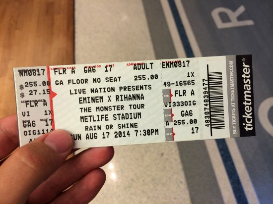 Eminem Rihanna The Monster Tour MetLife Stadium 17-08-2014 Билет на концерт