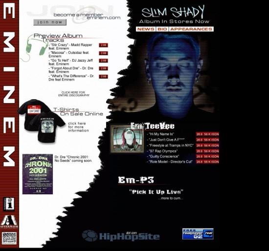 01 Фотография сайта Эминема 29 апреля 1999 Eminem Site