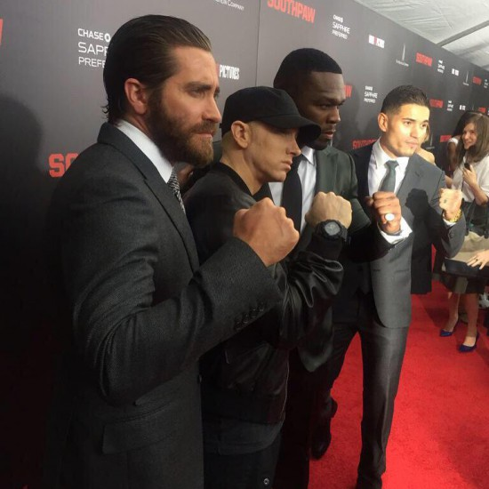 Jake Gyllenhaal, Eminem, 50 Cent: broadcast from the Southpaw premier