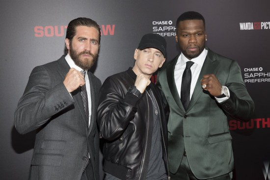Jake Gyllenhaal, Eminem and Curtis 50 Cent Jackson attend the premiere of Southpaw in New York July 21, 2015