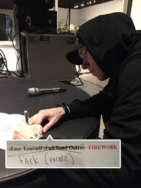 2016.03.06 - Eminem Working on my set list for Lollapalooza, South America