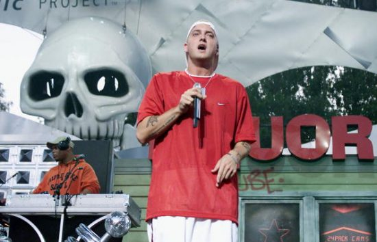 Rapper Eminem performs live at Memorial Stadium to celebrate the opening of the Experience Music Project, an interactive music museum opening in Seattle, Washington, June 23, 2000. (Photo by Kevin Winter/Getty Images)