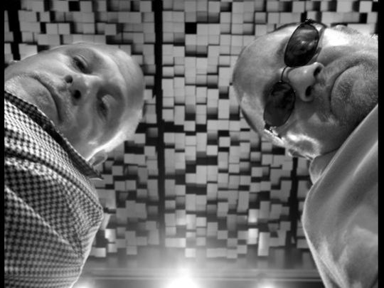 Jeff, left, and Mark Bass at their Ferndale studio in 2004. (Photo: Chip Somodevilla, Detroit Free Press)
