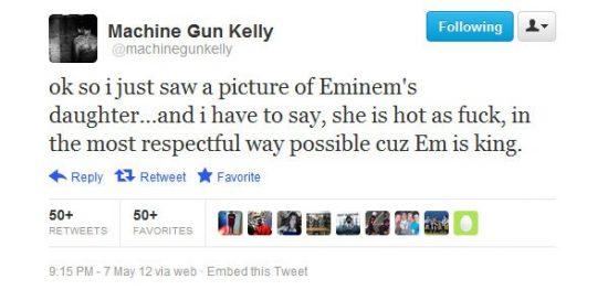 Machine Gun Kelly рассказал о твитте про дочь Эминема и последствиях