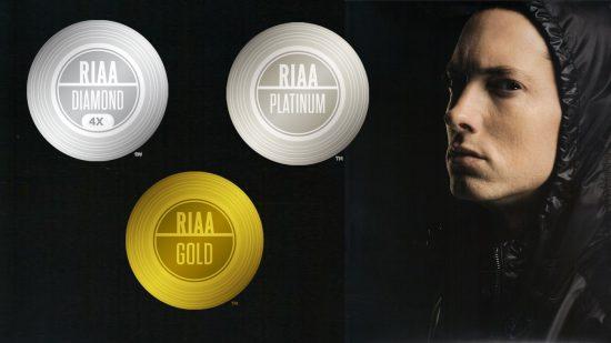 Список всех сертификатов Eminem'а от RIAA