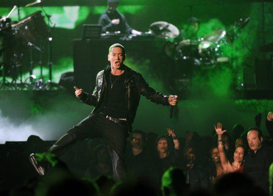 Rap star Eminem performs onstage during
