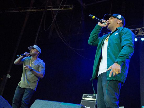 Kejuan Muchita (Havoc) and Albert Johnson (Prodigy) on stage together at the Art of Rap festival