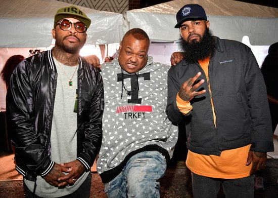 """ATLANTA, GA - OCTOBER 07:  Royce Da 5'9"""", Bizarre of the Group D12 and Stalley Backstage at the A3C Festival Main Stage on October 7, 2016 in Atlanta, Georgia.  (Photo by Prince Williams/WireImage)"""