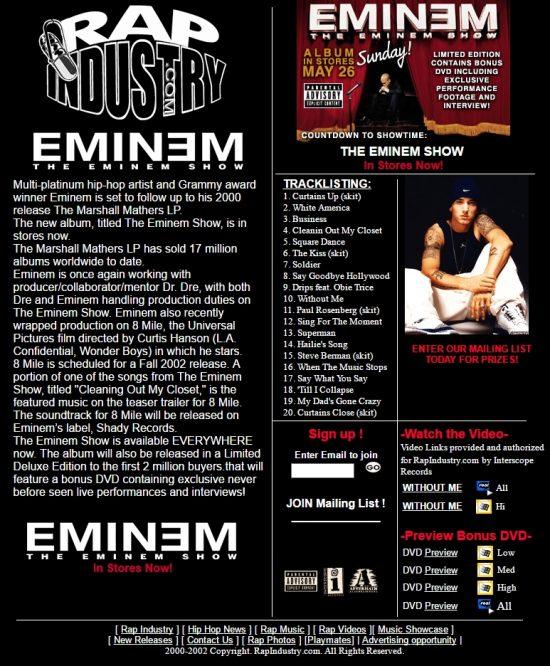 Зайди, чтобы получить Подарочный набор Eminem'а на Rapindustry.com