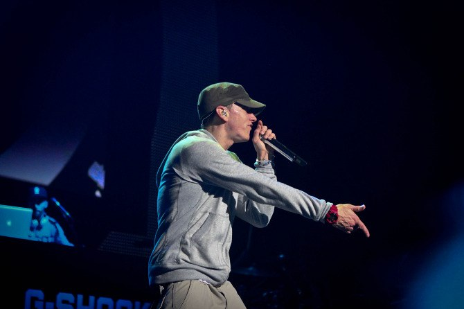 Eminem + Slaughterhouse perform live in NYC G-Shock 30th Annniversary