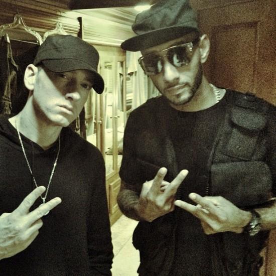 Eminem и Swizz Beatz на съёмках клипа Throw It Away