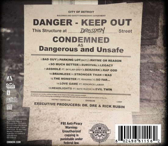 Eminem - MMLP2 (Marshall Mathers LP 2) Cover Back