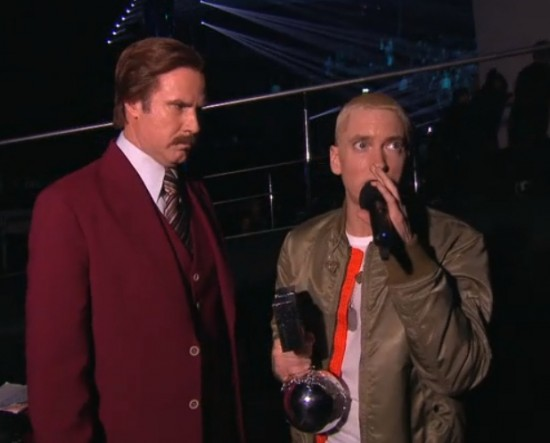 Eminem and Ron Burgundy @ MTV EMA 2013