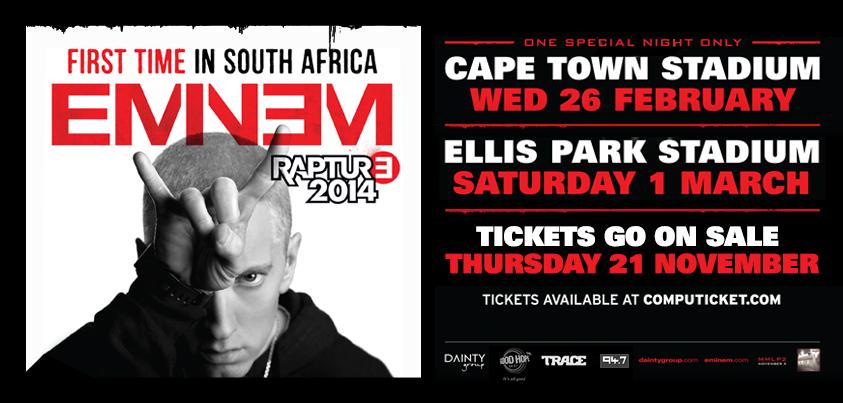 2013.11.19 - Eminem 2014 Rapture tour South Africa