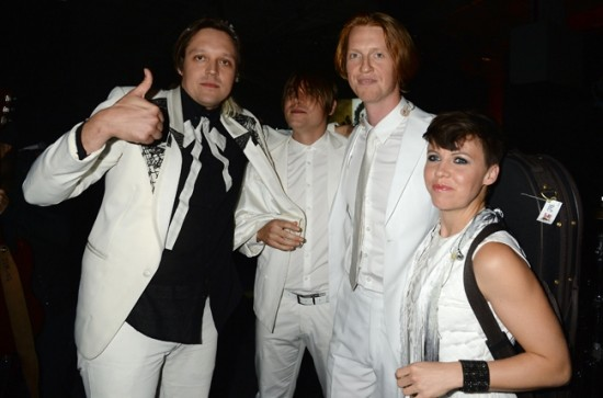Arcade Fire backstage at the 2013 YouTube Music Awards, November 3, 2013 in New York City