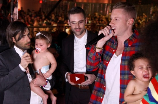 (L-R) Jason Schwartzman, Ryan Lewis & Macklemore present at the 2013 YouTube Music Awards, November 3, 2013 in New York City.