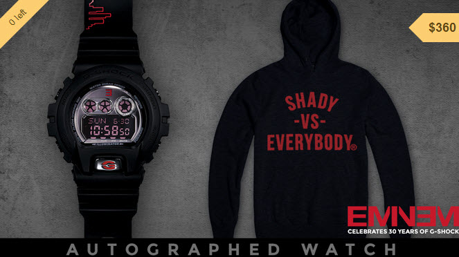 Autographed Eminem, Limited Edition Shady Records G-Shock Watch + Hoodie