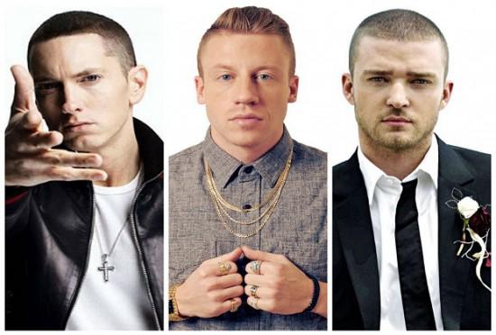Eminem, Macklemore, Justin Timberlake