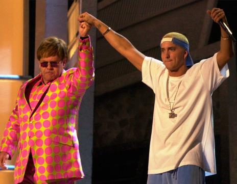 Eminem and Elton John at 2001 Grammy Awards 2