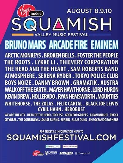 Line-Up Squamish Valley Music Festival