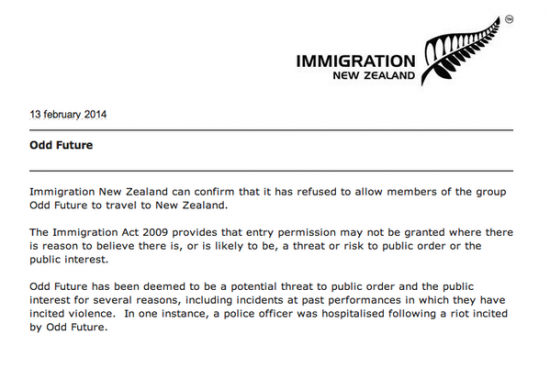 2014.02.13 - New Zealand immigration Tyler The Creator Odd Future
