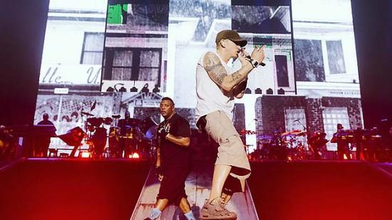 Eminem and Mr. Porter at February 22, ANZ Stadium, Olympic Park Photo Jeremy Deputat