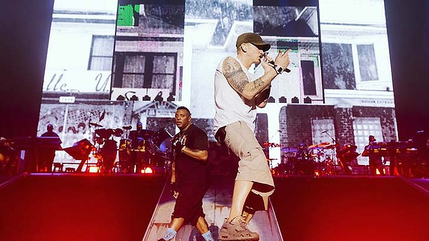 Eminem and Mr. Porter at February 22, ANZ Stadium, Olympic Park Photo Jeremy Deputat