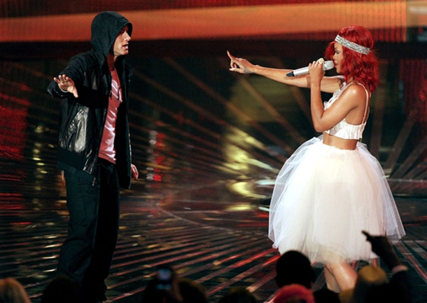Eminem and Rihanna perform onstage during The 53rd Annual GRAMMY Awards held at Staples Center on February 13, 2011 in Los Angeles, California.