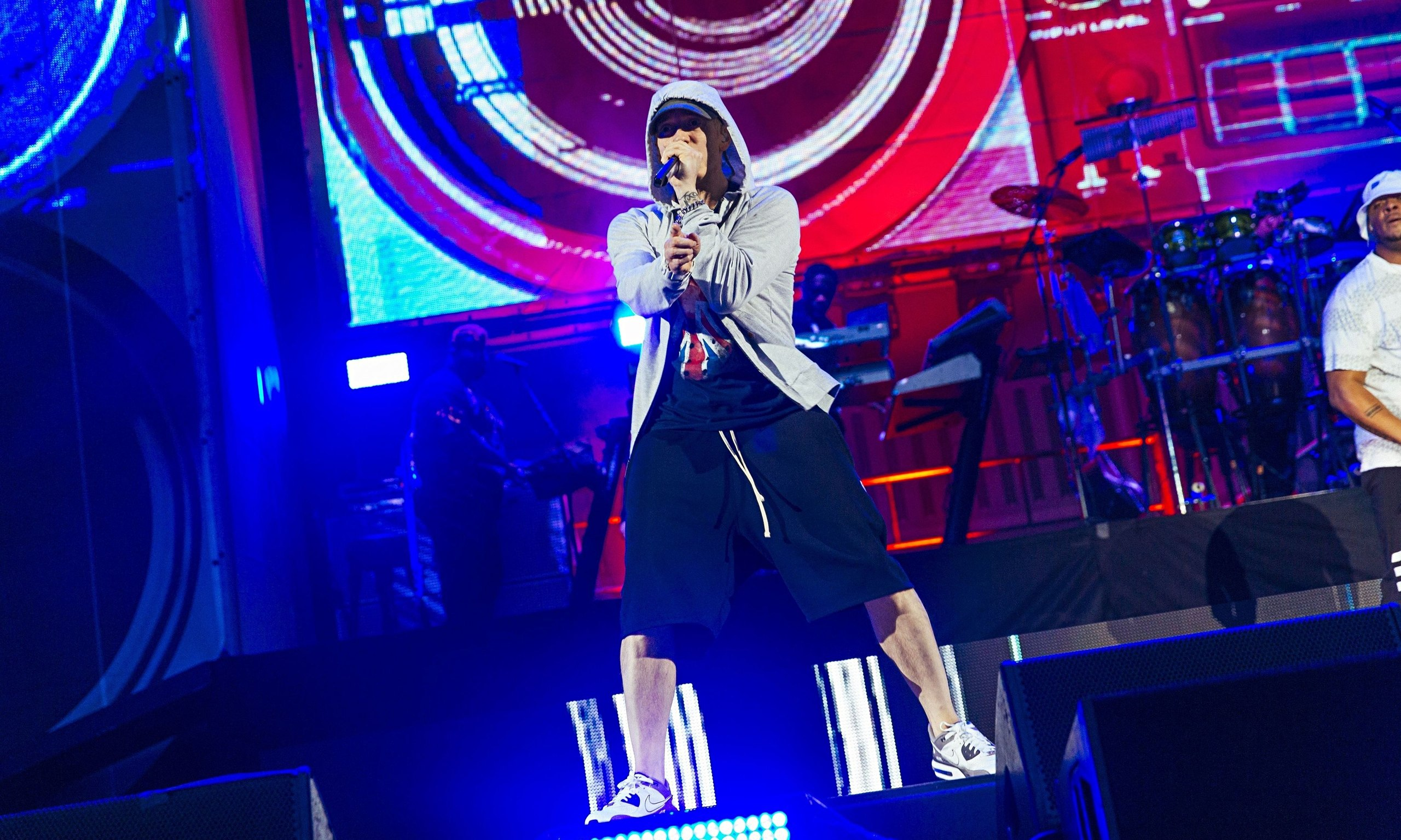 Eminem performing at Wembley Stadium 11 July 2014