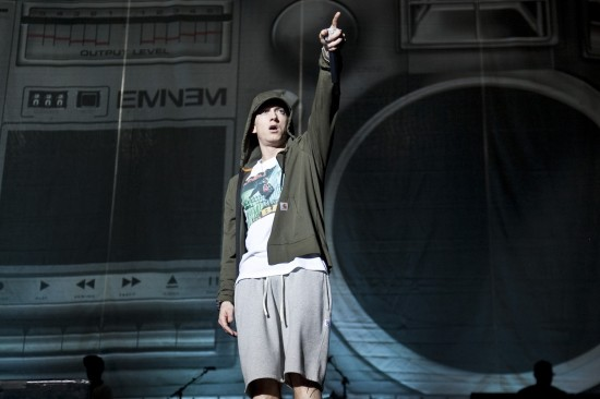 Eminem performs during Day 1 of Lollapalooza 2014 at Grant Park in Chicago, Illinois on August 1, 2014.