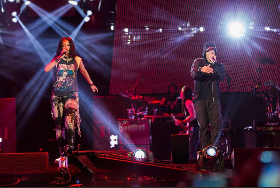 The Monster Tour: The pop music behemoths Rihanna and Eminem performing for a sold-out crowd during the first show of their two-night stay at MetLife Stadium