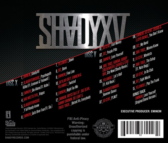 2014.10.29 - SHADYXV TRACKLIST REVEALED