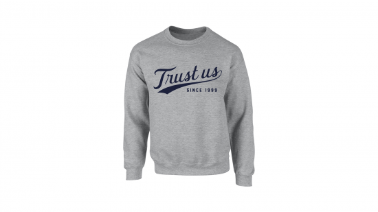 Trust Us Crewneck - Navy on Heather Gray