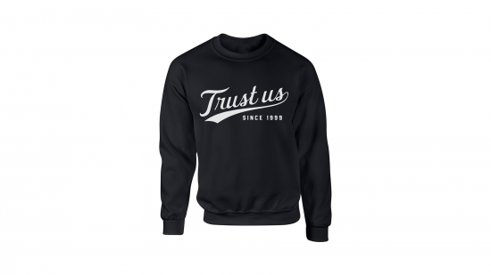 Trust Us Crewneck - White on Black