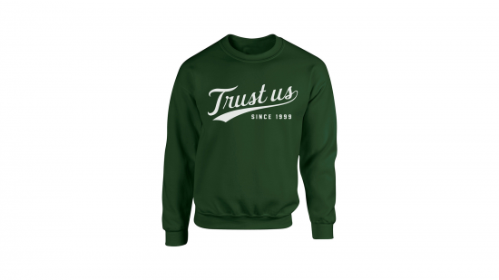 Trust Us Crewneck - White on Green