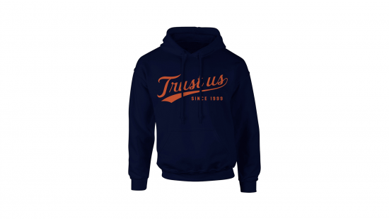 Trust Us Hoodie - Orange on Navy
