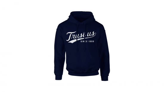 Trust Us Hoodie - White on Navy