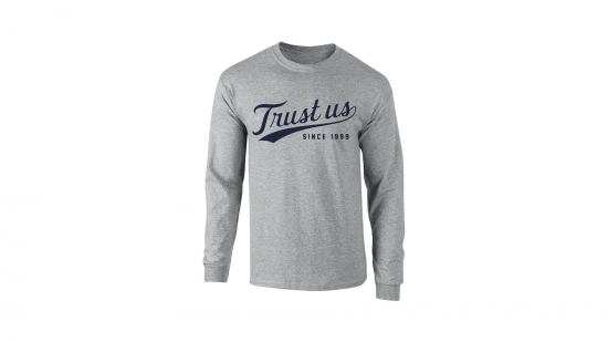 Trust Us Long Sleeve T-Shirt - Navy on Heather Gray