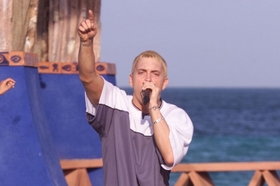 CANCUN - MARCH 16: Rapper Eminem performs during MTV's Spring Break 2000 in Cancun, Mexico. (Photo by: Frank Micelotta/Getty Images)
