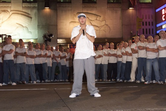 Eminem and his look-a-likes at rehearsals for the 2000 MTV Video Music Awards at Radio City Music Hall in New York City. 9/6/00 (Frank Micelotta/ImageDirect)