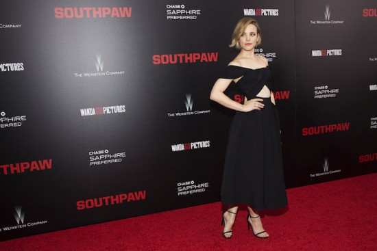 Actress Rachel McAdams attends the premiere of Southpaw in New York July 21, 2015